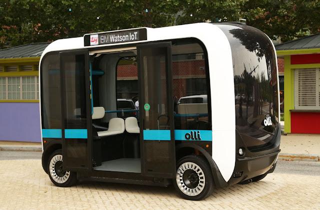 Imagen del prototipo de autobús Olli con reconocimiento de lengua de signos