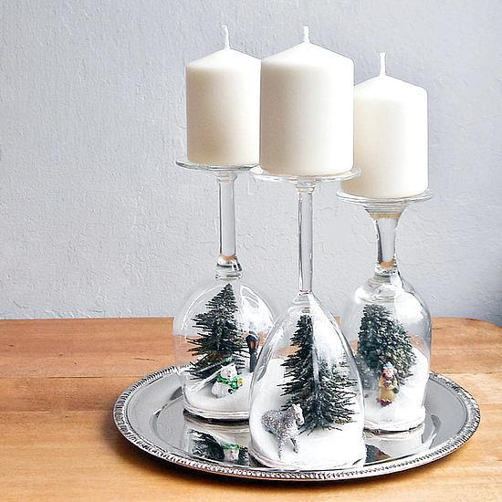Decoracion DIY Navidad: portavelas con copas