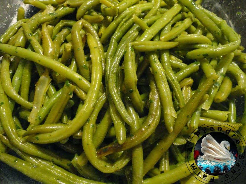Haricots verts poêlés à l'ail et au persil