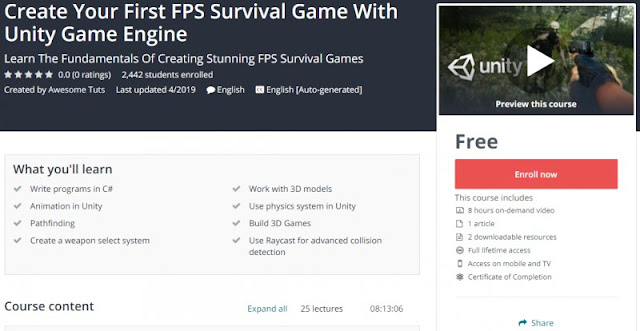 [100% Free] Create Your First FPS Survival Game With Unity Game Engine