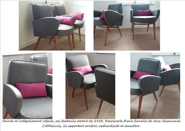 Paire de fauteuils scandinaves restaurés gris