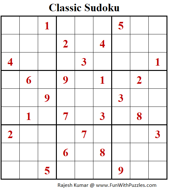 Classic Sudoku Puzzles (Fun With Sudoku #288)