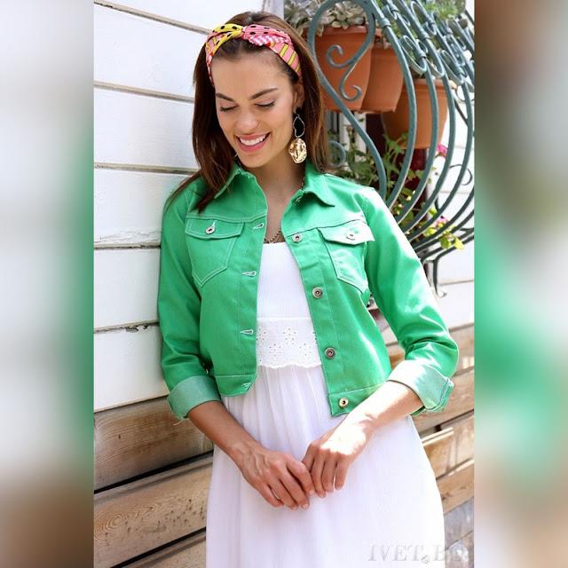 Γυναικείο κοντό πράσινο μπουφάν SLAVEYA GREEN