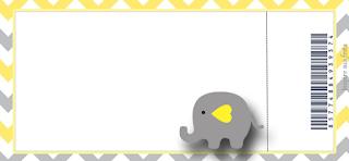 Tarjeta con forma de Ticket de Elefante Bebé en Amarillo y Gris.