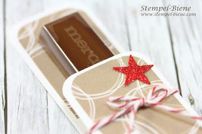 Schokoriegelverpackung; Anleitung Merciverpackung; Gastgeschenke Weihnachtsfeier; Weihnachtsdeko; Stampinup von mir gestempelt; stempel-biene