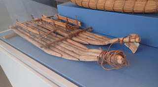 model twin-hull raft from Bolivia