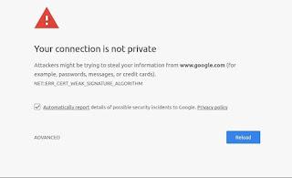 Mengatasi Error Sambungan Koneksi Anda Tidak Bersifat Pribadi atau Your Connection is not Private