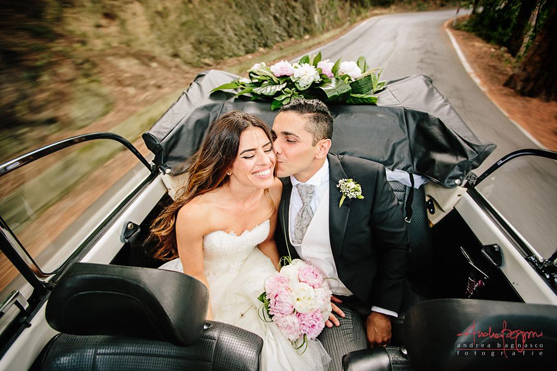 sposi matrimonio Liguria riviera cabriolet auto