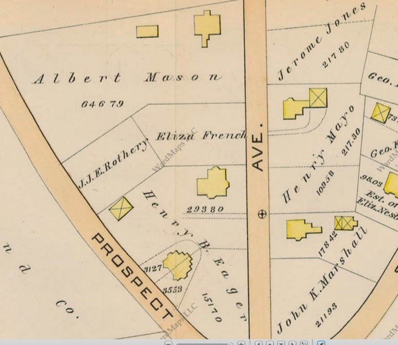 Map of Mason, Jones, and Marshall houses on Summit Avenue