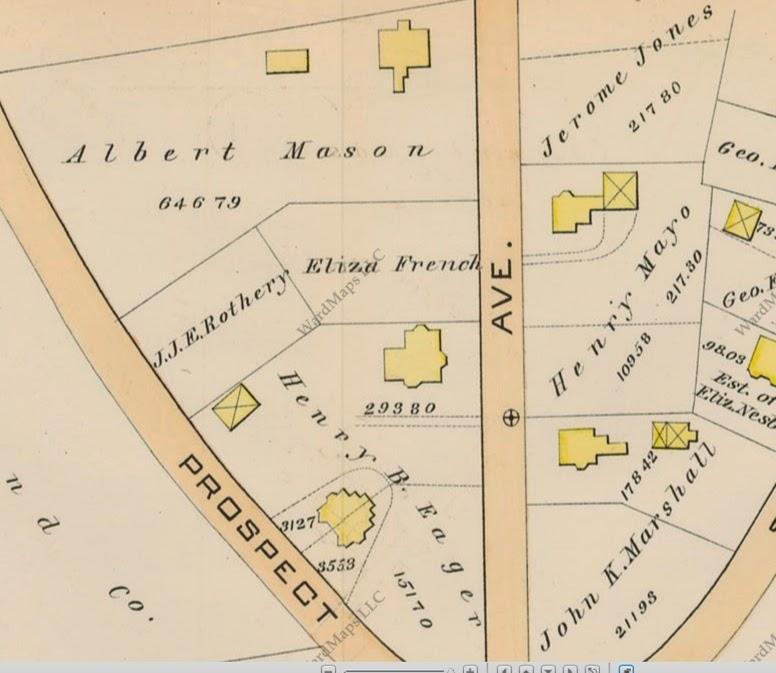 Map of Mason, Jones, and Marshall houses on Summit Avenue