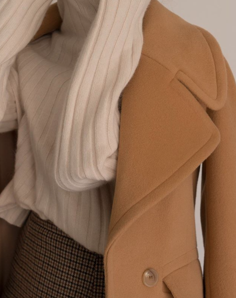 Camel coat, beige sweater