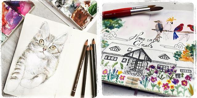Sketchbook Challenge Galia Alena, mixed media moleskine
