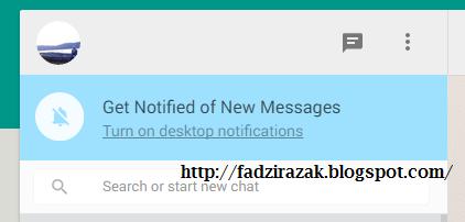 Turn on dekstop notification Whatsapp