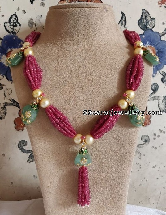 Ruby Beads Emerald Drops Set