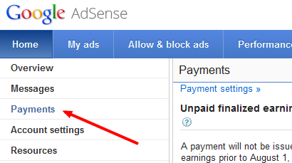 Google adsense Check status tracking step 1