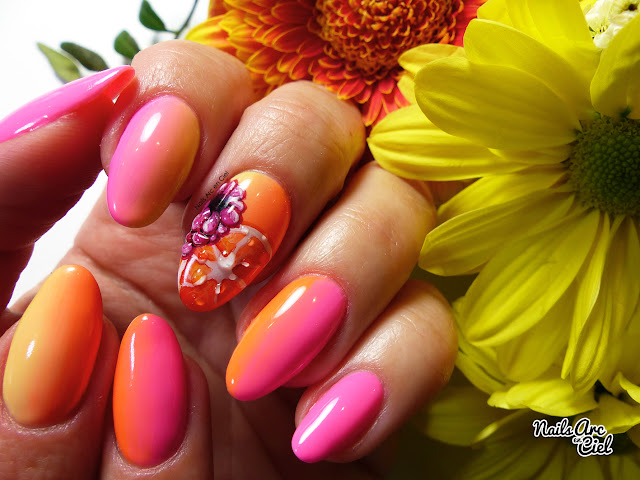 Nail Art - Framboise et orange, Fruits vitaminés gel 3D sur dégradé en VSP par Nails Arc en Ciel