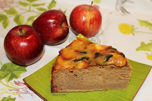 Detalle porción Receta tarta de manzana sin gluten y sin azúcares añadidos