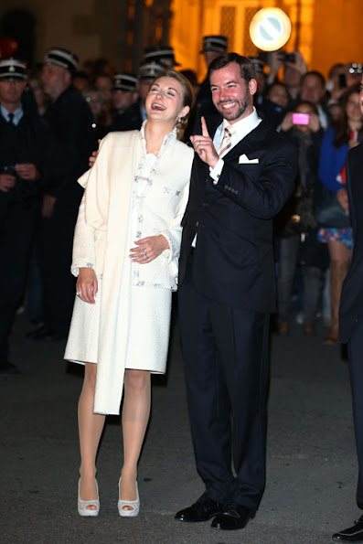 Prince Guillaume and Princess Stephanie waves to the public before the fire works and concerts. Fun, fireworks and fabulous music as Luxembourg celebrates the royal wedding