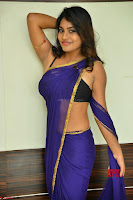 Actress Priya in Blue Saree and Sleevelss Choli at Javed Habib Salon launch ~  Exclusive Galleries 032.jpg