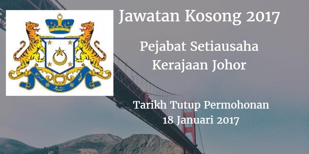 Jawatan Kosong Pejabat Setiausaha Kerajaan Johor 18 Januari 2017