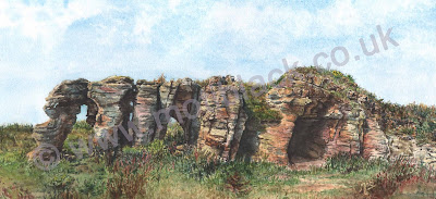 Watercolour painting of Caiplie Caves, Fife