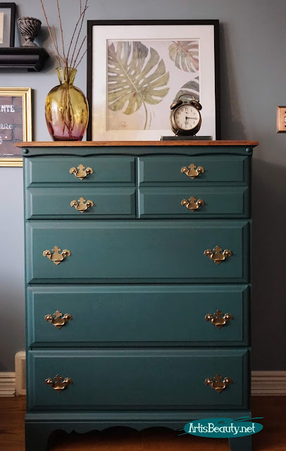 Outdated Dresser Makeover Using General Finishes New Color Westminster Green and Mahogany Gel stain DIY  artisbeauty.net