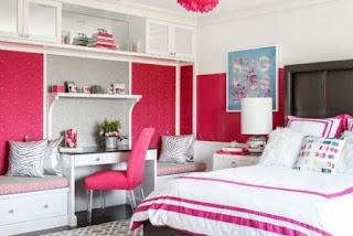 kamar tidur anak remaja putri warna merah muda