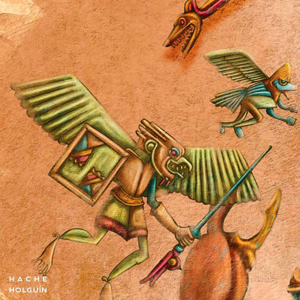 """Ilustración. Mito """"La guerra contra el Unkáju"""""""