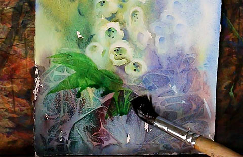 Original watercolor White Foxgloves painting by Olga Peregood. Fragment from future video tutorial.  Adding final leaves with Nevskaya Palitra squirrel round brush size 12