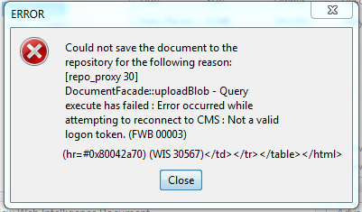 WIS 30567: Error occurred while attempting to reconnect to