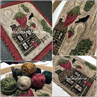 'Strawberry Hill Cottage' punch needle pattern