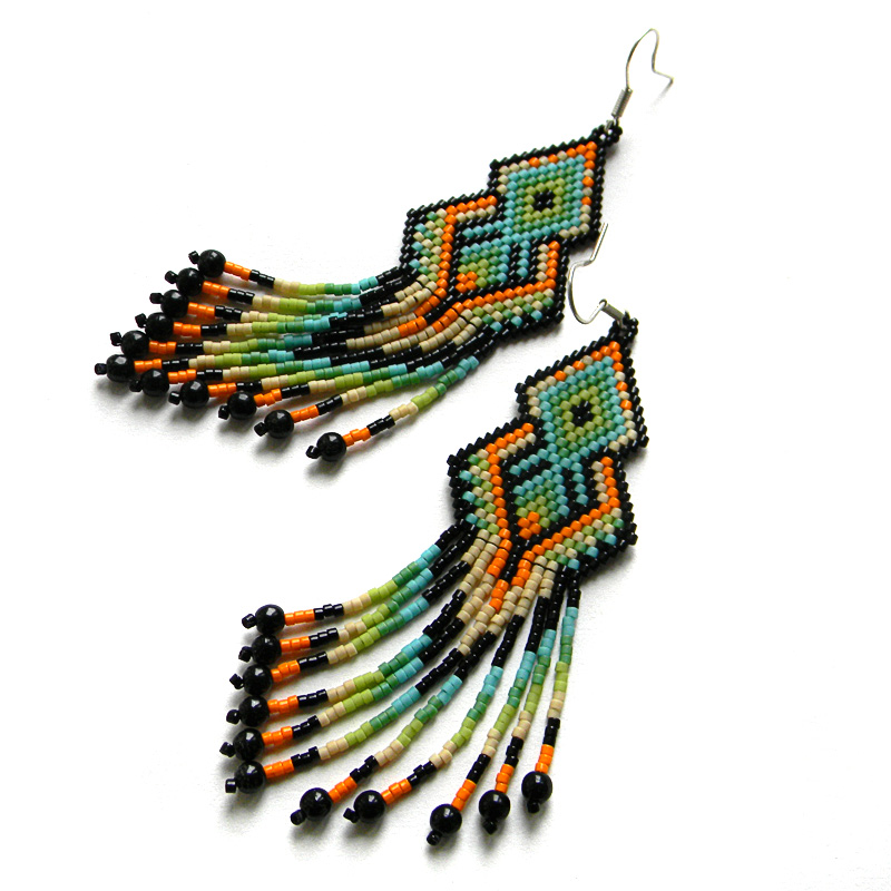 peyote earrings seed bead jewelry ethnic style beadwork
