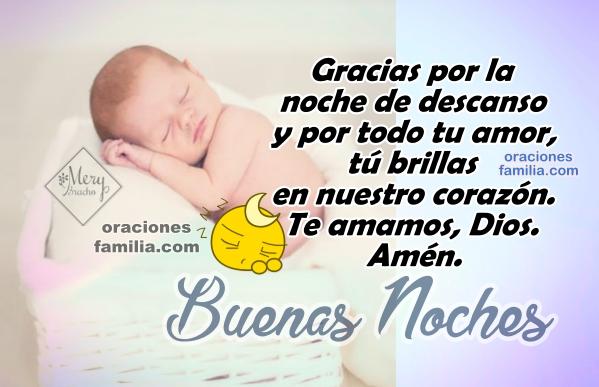 Oración para dormir en la noche, descansar, buenas noches con oraciones cortas en imágenes, frases cristianas y oraciones por Mery Bracho.