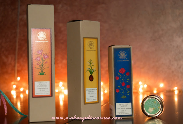 Kashmiri Saffron & Neem Delicate Facial Cleanser, Coldpressed Virgin Coconut Oil, Forest Essentials Marigold & Indian rose Light Day Lotion, Forest Essentials Products in India