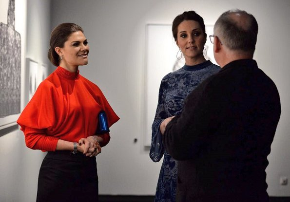 Kate Middleton wore ERDEM Christina Devore Velvet Midi Dress. The Duchess wore a black coat by well known Swedish designer Ida Sjöstedt. Crown Princess Victoria