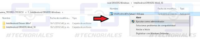 Instalar Drivers InteLAndroid como administrador.