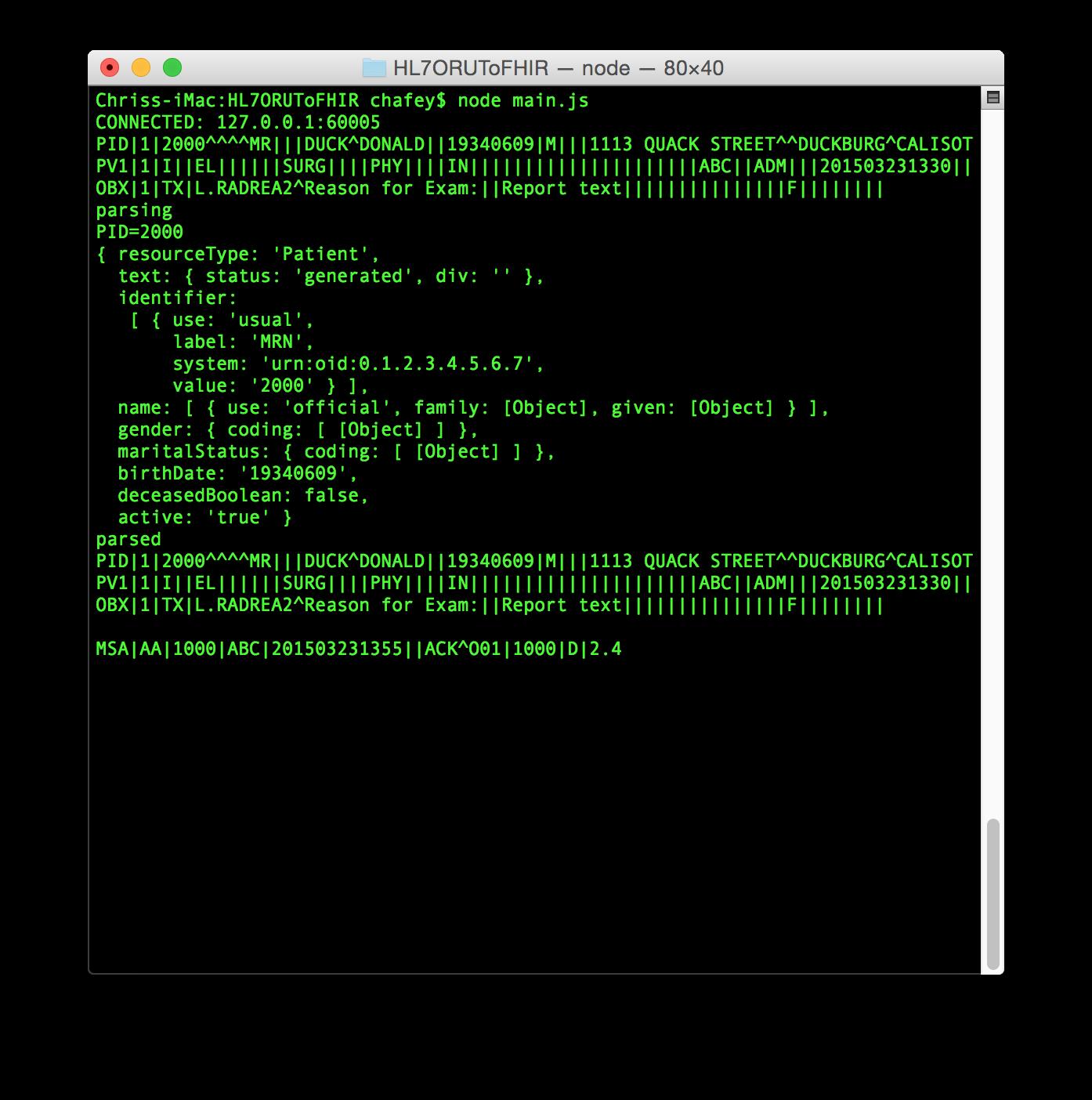 Hl7 Message In Json Format