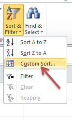 excel how to custom sort