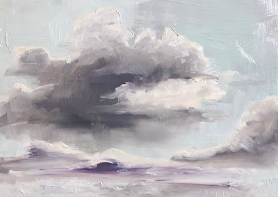 plein air cloud study, painting by philine van der vegte