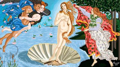 """Desenho """"O Nascimento de Vênus"""", feito no Paint"""
