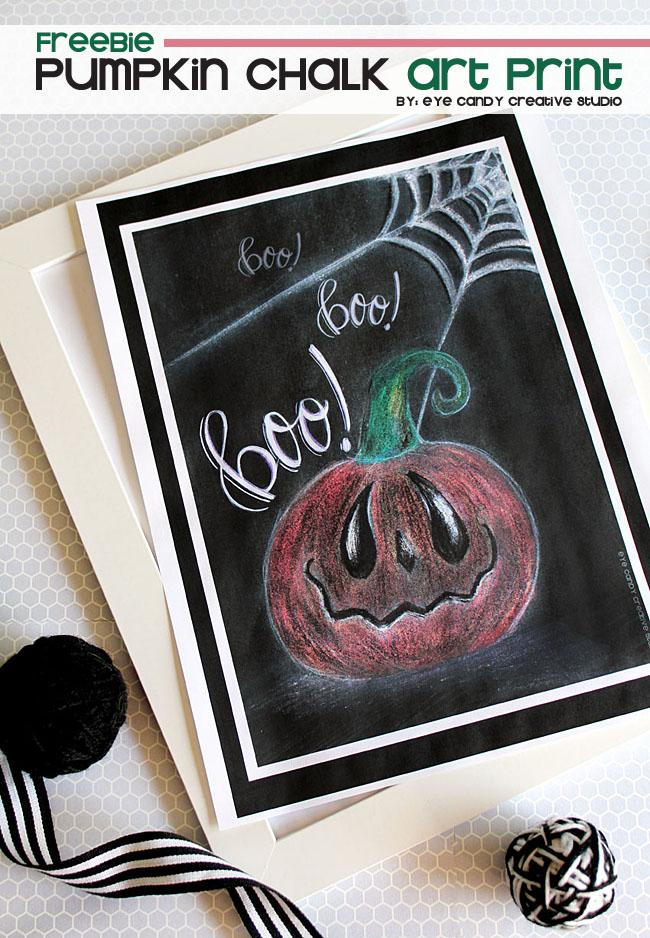 chalk art, pumpkin art print, hand lettering, boo, free halloween art