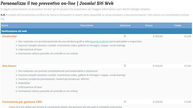 Schermata Joomla Siti Web