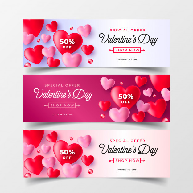 Realistic valentine's day sale banners collection Free Vector
