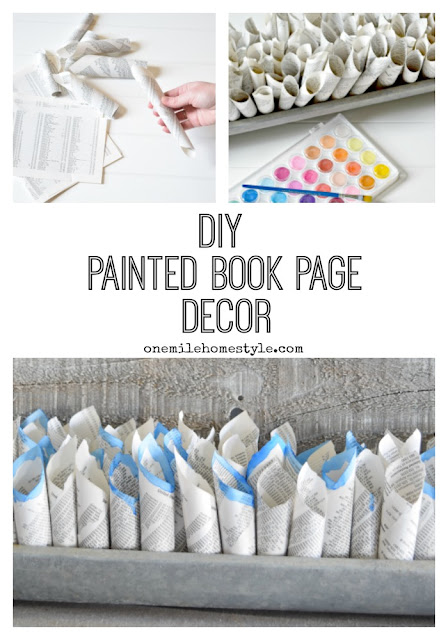 Love Farmhouse Decor? This DIY painted book page decor is the perfect accent, and it's so easy to make! - One Mile Home Style