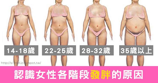 女性會隨著年齡的不同,各階段地代謝、循環和內分泌狀況都會不同,並不是越年輕越不會胖,也不是年齡越大越容易胖。認識女性各階段發胖的原因,才能有效預防肥胖遠比瘦身減肥要來得容易唷!就和小編一起來認識女性各階段發胖的原因吧!