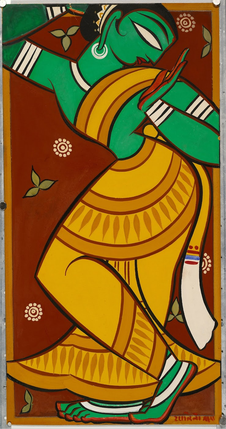 Painting of Dancing Gopi by Jamini Roy c1950s