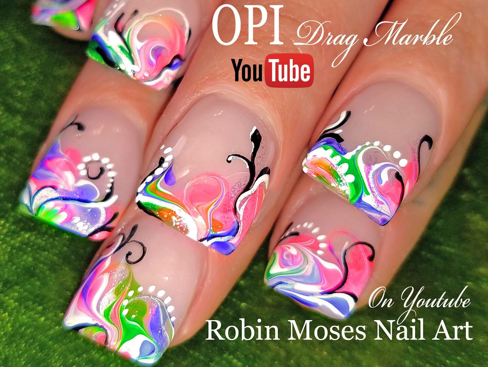 Nail Art by Robin Moses: No Water Marble Nails | Rainbow Drag Nail ...