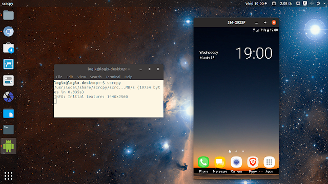 scrcpy control Android from Linux desktop
