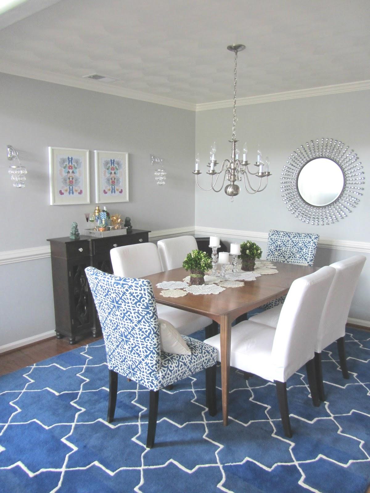 Client Reveal Cobalt  White Dining Room  Michaela Noelle Designs