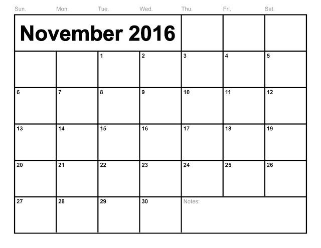 Blank Calendar November 2016 : November printable calendar blank templates